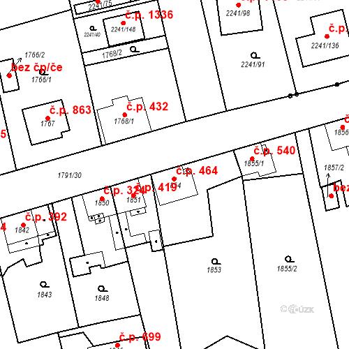 Katastrální mapa Stavební objekt Třemošná 464, Třemošná