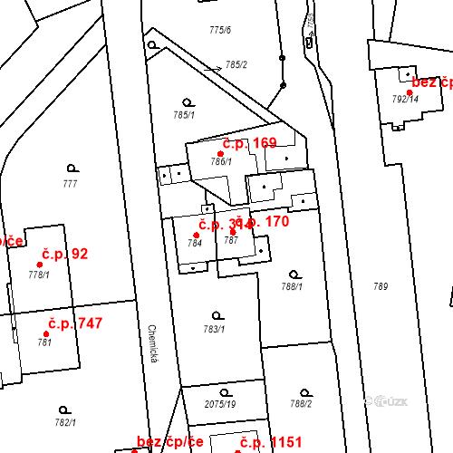Katastrální mapa Stavební objekt Třemošná 170, Třemošná