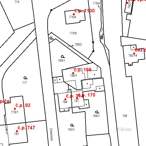 Katastrální mapa Stavební objekt Třemošná 169, Třemošná