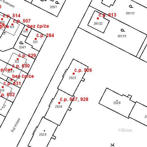 Katastrální mapa Stavební objekt Lobzy 926, Plzeň