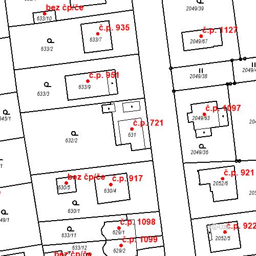 Katastrální mapa Stavební objekt Třemošná 721, Třemošná