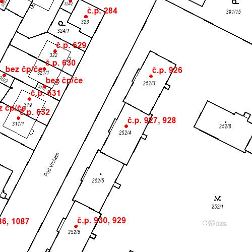 Katastrální mapa Stavební objekt Lobzy 927, 928, Plzeň