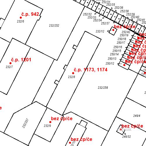 Katastrální mapa Stavební objekt Lobzy 1173, 1174, Plzeň