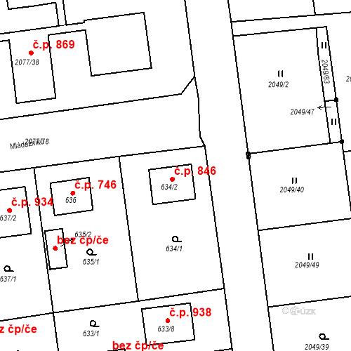 Katastrální mapa Stavební objekt Třemošná 846, Třemošná