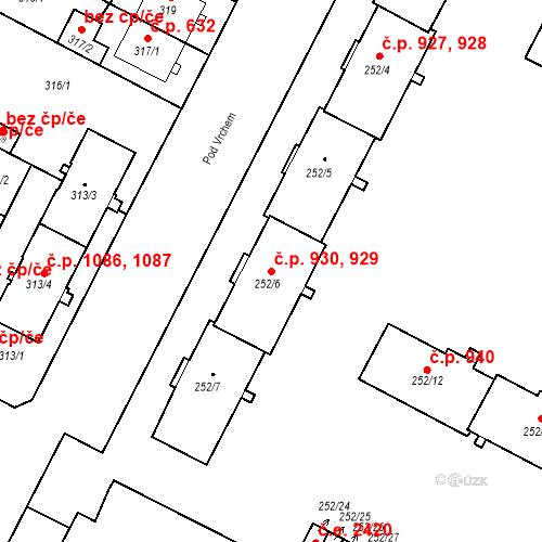 Katastrální mapa Stavební objekt Lobzy 929, 930, Plzeň