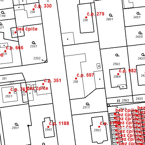 Katastrální mapa Stavební objekt Třemošná 597, Třemošná