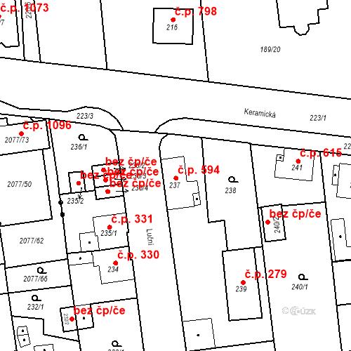 Katastrální mapa Stavební objekt Třemošná 594, Třemošná