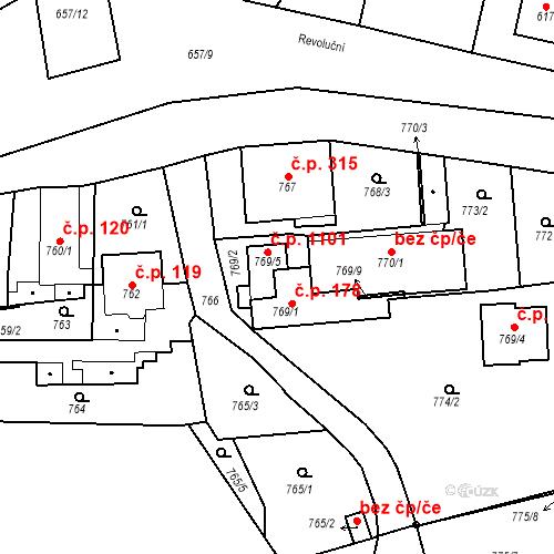 Katastrální mapa Stavební objekt Třemošná 178, Třemošná