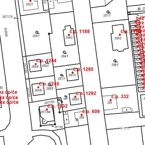 Katastrální mapa Stavební objekt Třemošná 1285, Třemošná