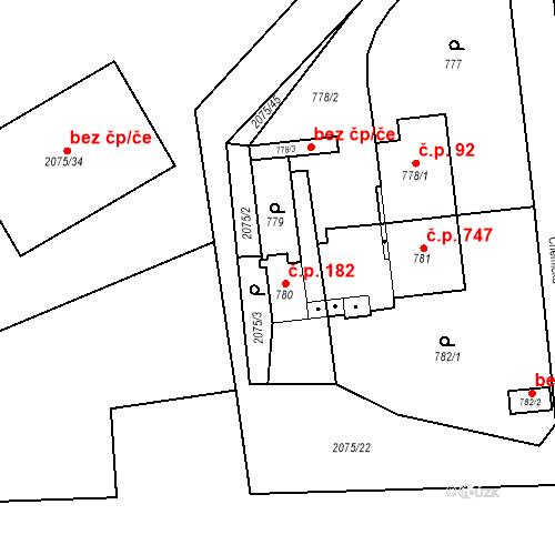 Katastrální mapa Stavební objekt Třemošná 182, Třemošná