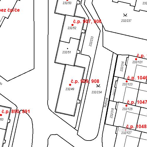 Katastrální mapa Stavební objekt Lobzy 908, 909, Plzeň