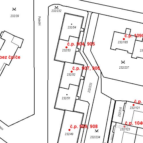 Katastrální mapa Stavební objekt Lobzy 906, 907, Plzeň