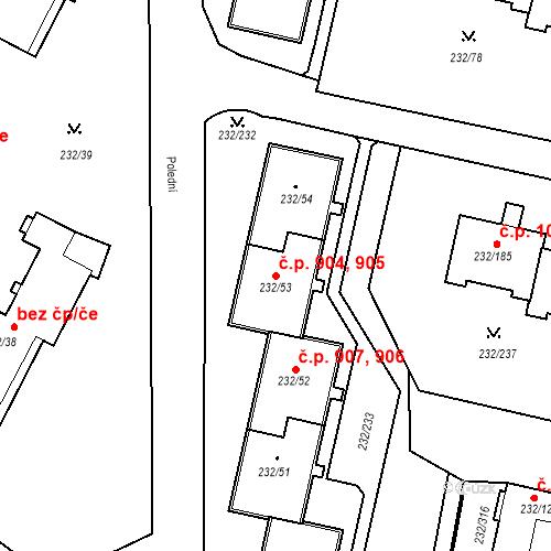 Katastrální mapa Stavební objekt Lobzy 904, 905, Plzeň