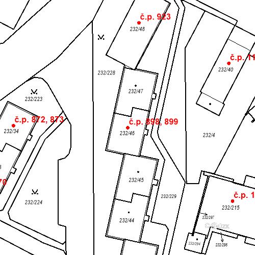 Katastrální mapa Stavební objekt Lobzy 898, 899, Plzeň