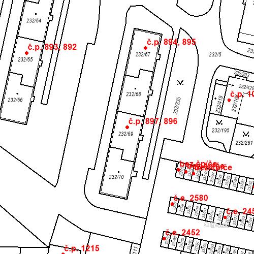 Katastrální mapa Stavební objekt Lobzy 896, 897, Plzeň