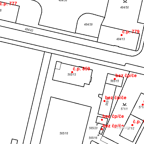 Katastrální mapa Stavební objekt Lobzy 859, Plzeň