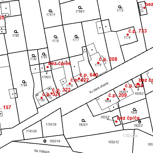 Katastrální mapa Stavební objekt Třemošná 640, Třemošná