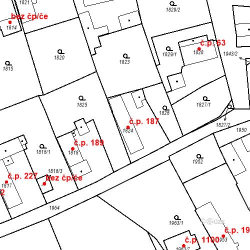 Katastrální mapa Stavební objekt Třemošná 187, Třemošná