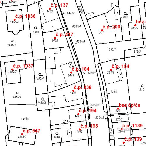 Katastrální mapa Stavební objekt Třemošná 184, Třemošná