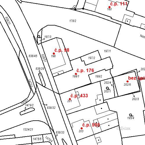 Katastrální mapa Stavební objekt Třemošná 176, Třemošná