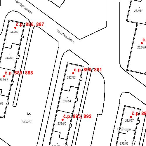 Katastrální mapa Stavební objekt Lobzy 890, 891, Plzeň