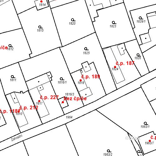 Katastrální mapa Stavební objekt Třemošná 189, Třemošná
