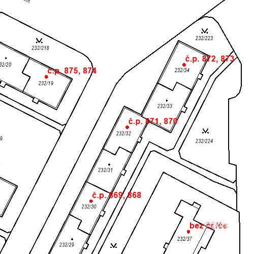 Katastrální mapa Stavební objekt Lobzy 870, 871, Plzeň