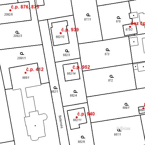 Katastrální mapa Stavební objekt Třemošná 952, Třemošná