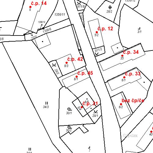 Katastrální mapa Stavební objekt Radochovy 45, Neurazy