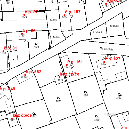 Katastrální mapa Stavební objekt Třemošná 161, Třemošná