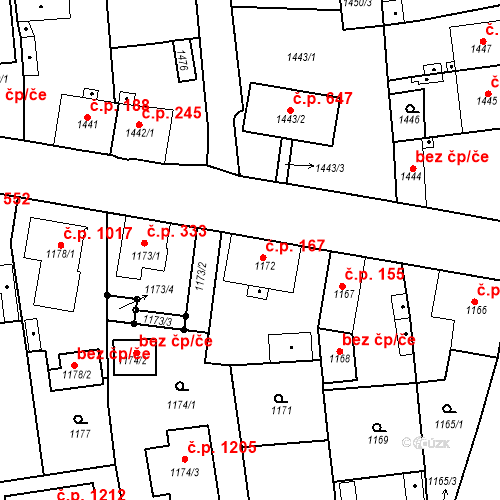 Katastrální mapa Stavební objekt Třemošná 167, Třemošná