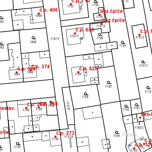 Katastrální mapa Stavební objekt Třemošná 625, Třemošná