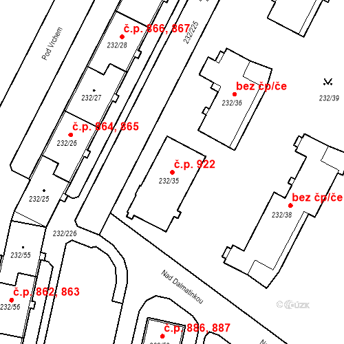 Katastrální mapa Stavební objekt Lobzy 922, Plzeň