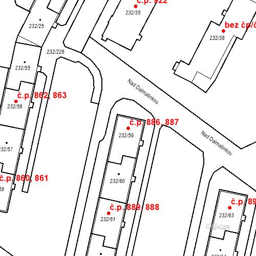 Katastrální mapa Stavební objekt Lobzy 886, 887, Plzeň