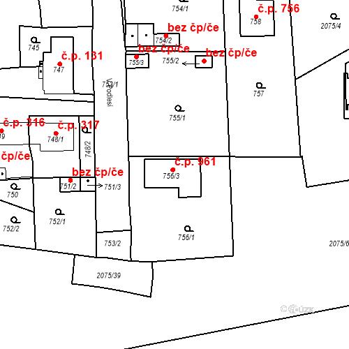 Katastrální mapa Stavební objekt Třemošná 961, Třemošná
