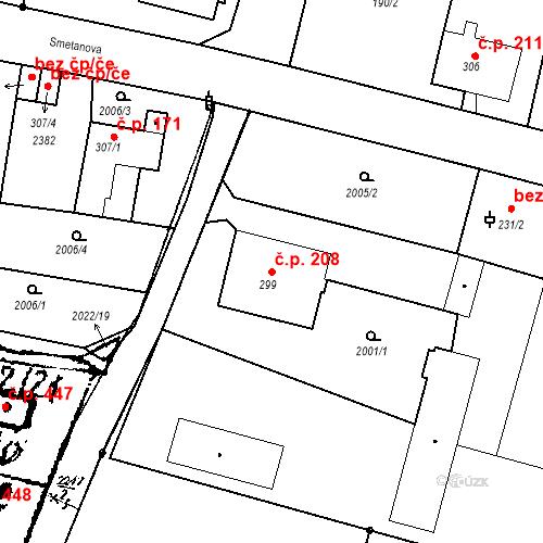 Katastrální mapa Stavební objekt Kašperské Hory 208, Kašperské Hory