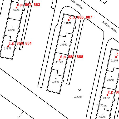 Katastrální mapa Stavební objekt Lobzy 888, 889, Plzeň