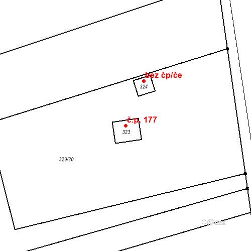 Katastrální mapa Stavební objekt Rybnice 177, Rybnice