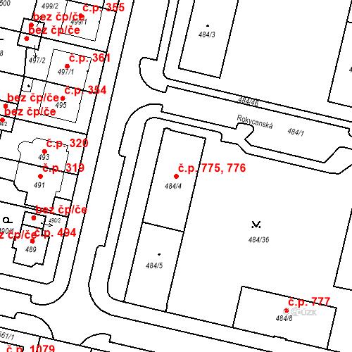 Katastrální mapa Stavební objekt Lobzy 775, 776, Plzeň