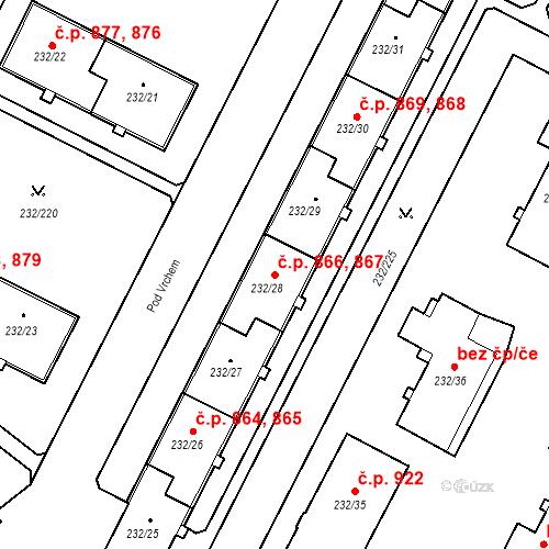 Katastrální mapa Stavební objekt Lobzy 866, 867, Plzeň