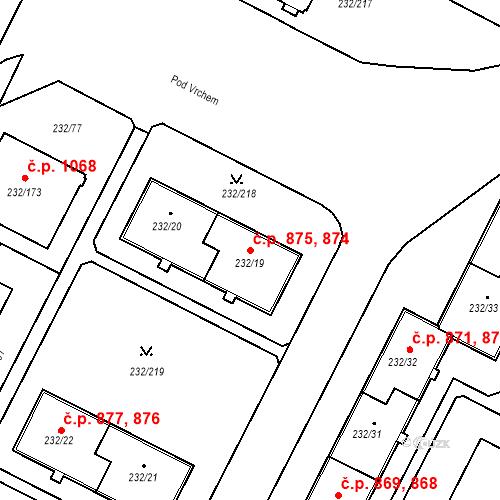 Katastrální mapa Stavební objekt Lobzy 874, 875, Plzeň
