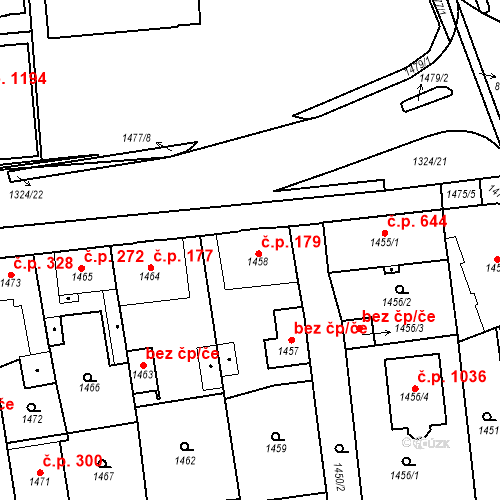 Katastrální mapa Stavební objekt Třemošná 179, Třemošná