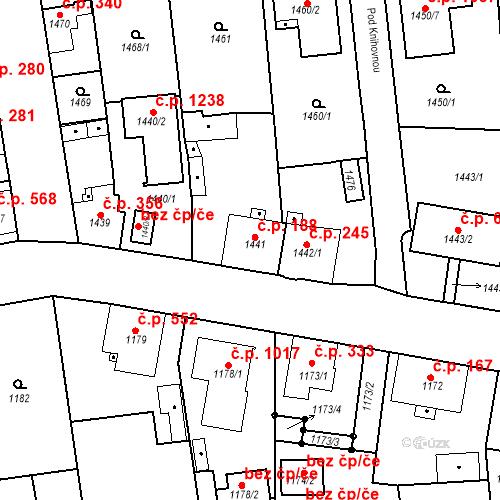 Katastrální mapa Stavební objekt Třemošná 188, Třemošná
