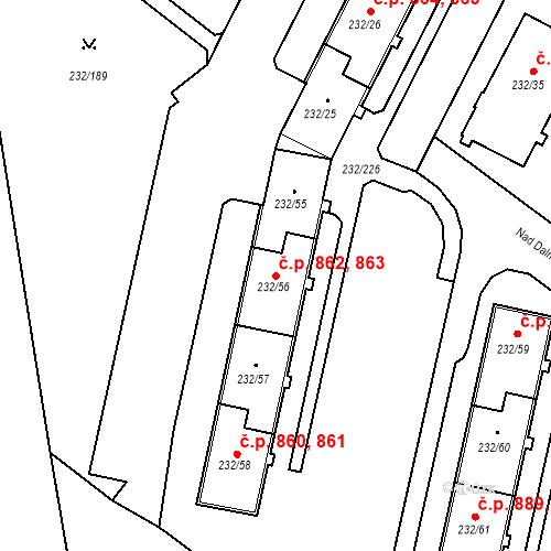 Katastrální mapa Stavební objekt Lobzy 862, 863, Plzeň