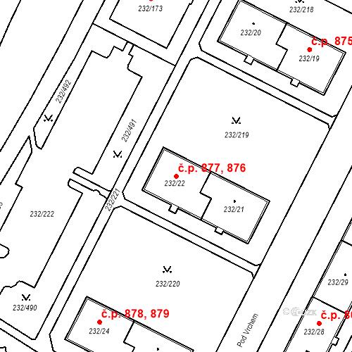 Katastrální mapa Stavební objekt Lobzy 876, 877, Plzeň