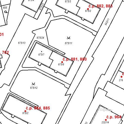 Katastrální mapa Stavební objekt Lobzy 880, 881, Plzeň