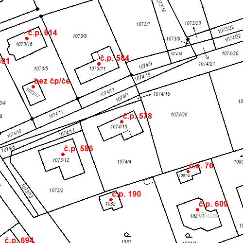 Katastrální mapa Stavební objekt Koterov 578, Plzeň
