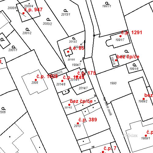 Katastrální mapa Stavební objekt Třemošná 175, Třemošná
