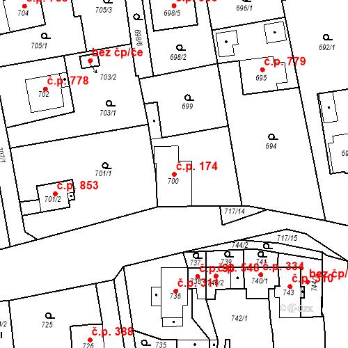 Katastrální mapa Stavební objekt Třemošná 174, Třemošná