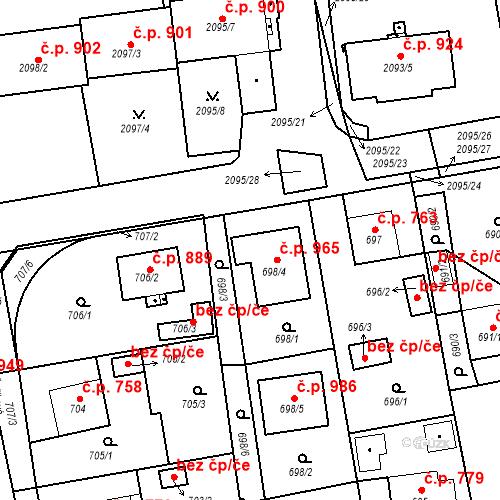 Katastrální mapa Stavební objekt Třemošná 965, Třemošná